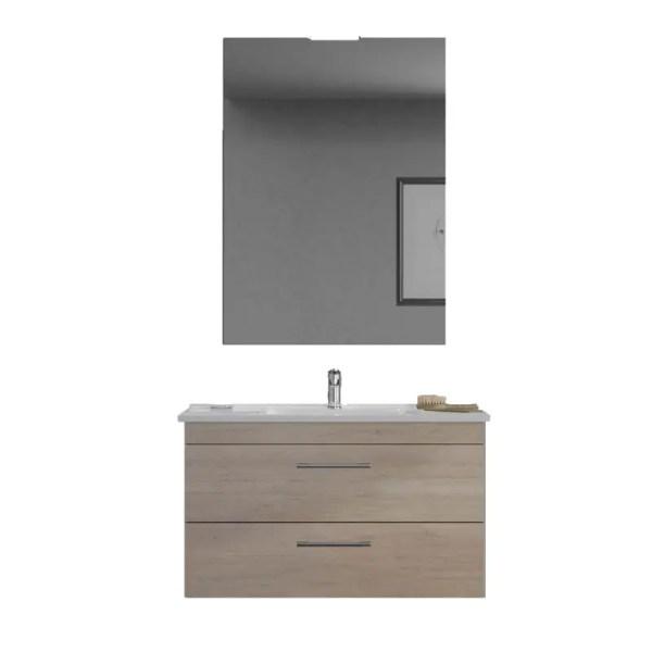 Mobile Bagno Sospeso fast zip legno composizione specchiera lavabo luce colore corda