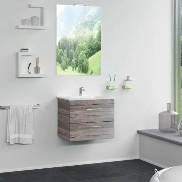 Mobile Bagno Sospeso fast zip legno composizione specchiera lavabo luce colore Grigio