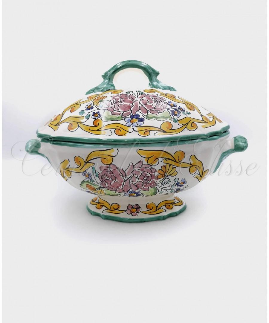 Vendita tavoli da esterno in ceramica a vietri images. Zuppiera In Ceramica Di Vietri Borghese Decoro Bouquet Rose
