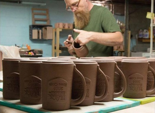 LaPella Pottery - Alex Working on Mugs for Mug Club for Black Abbey Brewing