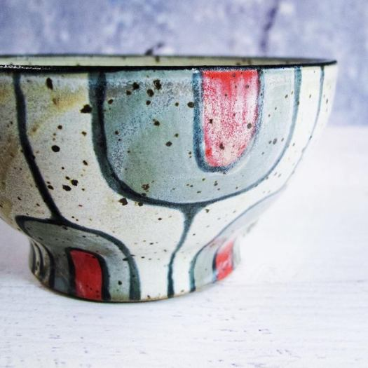 LaPella Pottery - Snack Bowl in Gray and Red on White