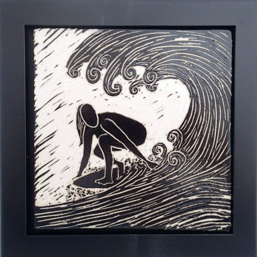 Jackson Gray of JackPots Pottery - Surfer Girl Sgraffito Tile