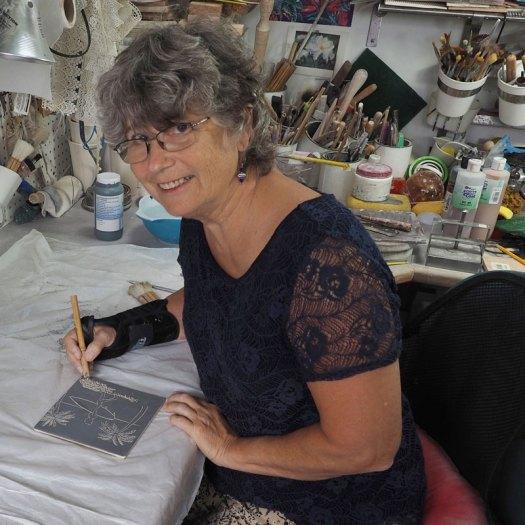 Jackson Gray of JackPots Pottery Working in Her Studio