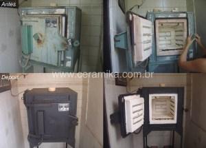 antes e depois da reforma do forno ceramico