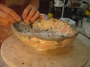 tecnica neriage porcelana colorida