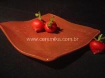 prato vermelho em ceramica artistica