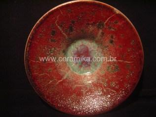 queima em redução esmalte vermelho