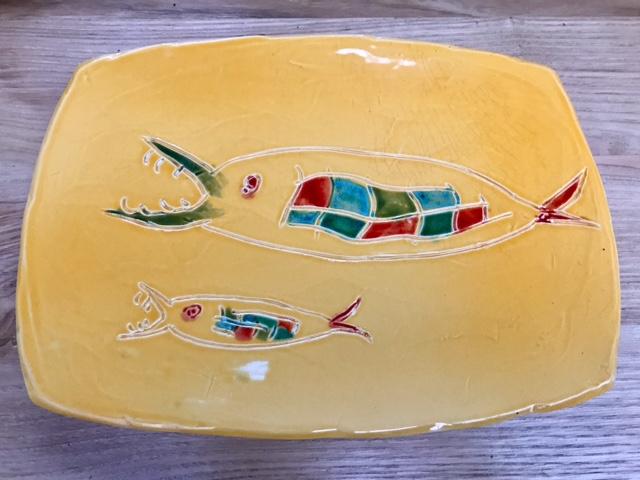 Plat poisson jaune  - objets céramiques