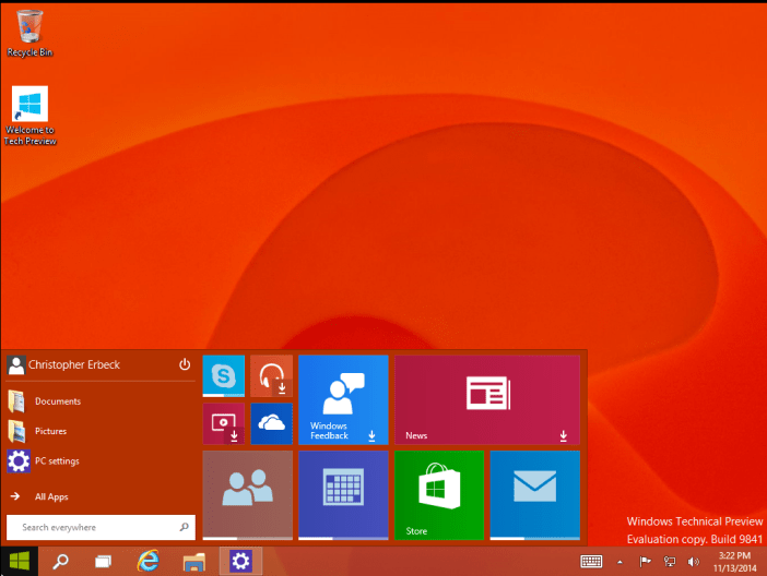 Start menu can be resized