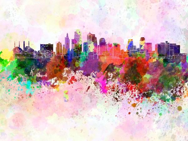 Kansas City Skyline Watercolor