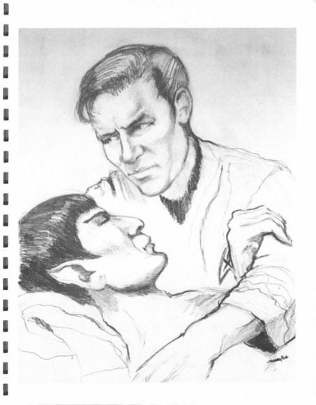 Kirk e Spock nell'illustrazione di The Ring of Soshern fatta daMrs. Potato Headper l'edizione di Alien Brothers