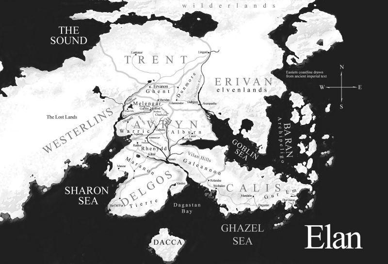 La mappa di Elan, il mondo di The Riyria Chronicles di Sullivan