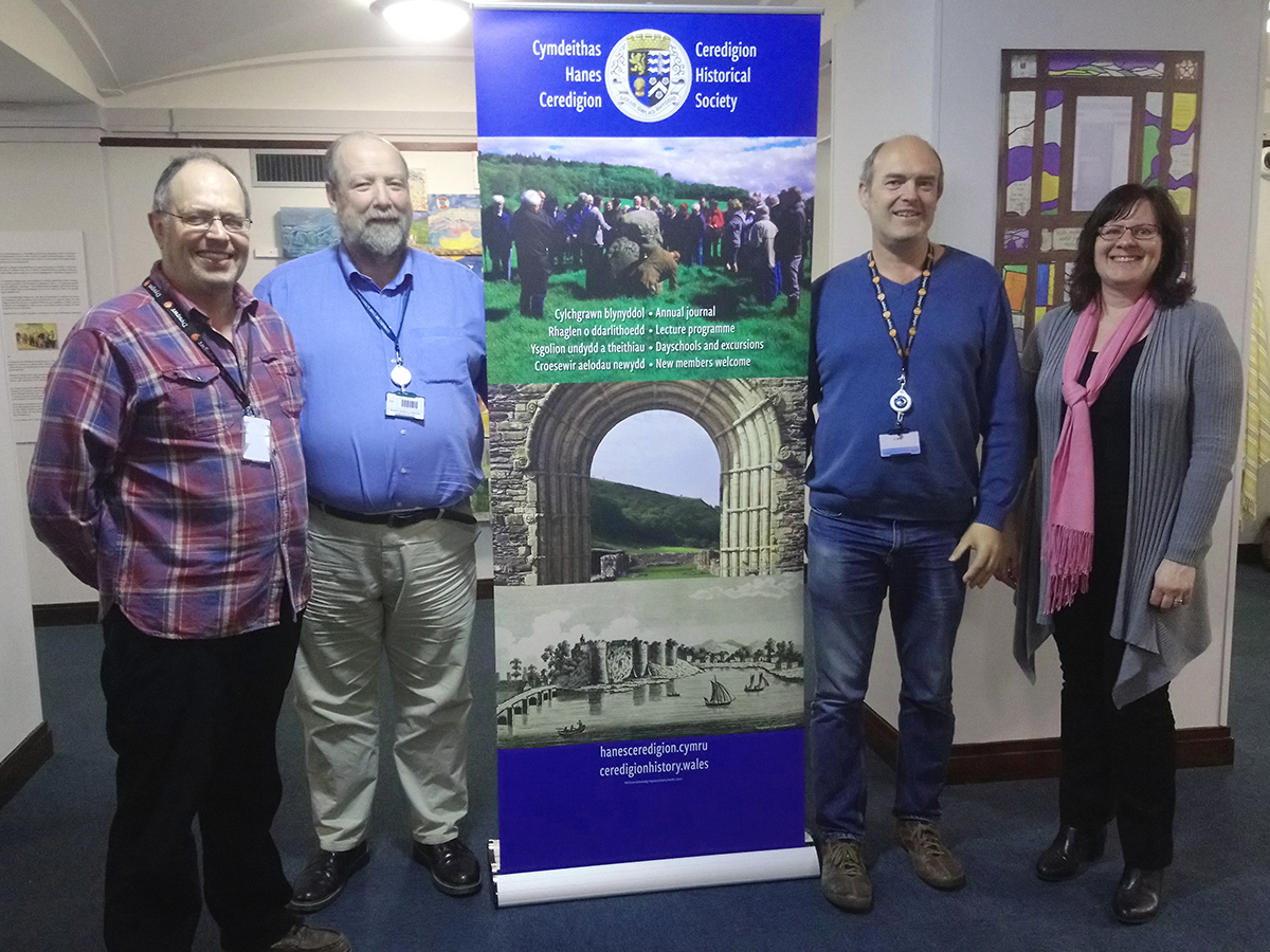Unveiling of the new Ceredigion Historical Society banner.