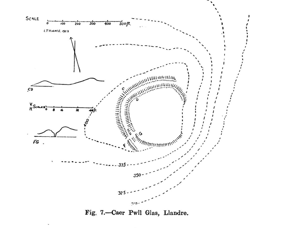 Site plan of Caer Pwll Glas, Llandre