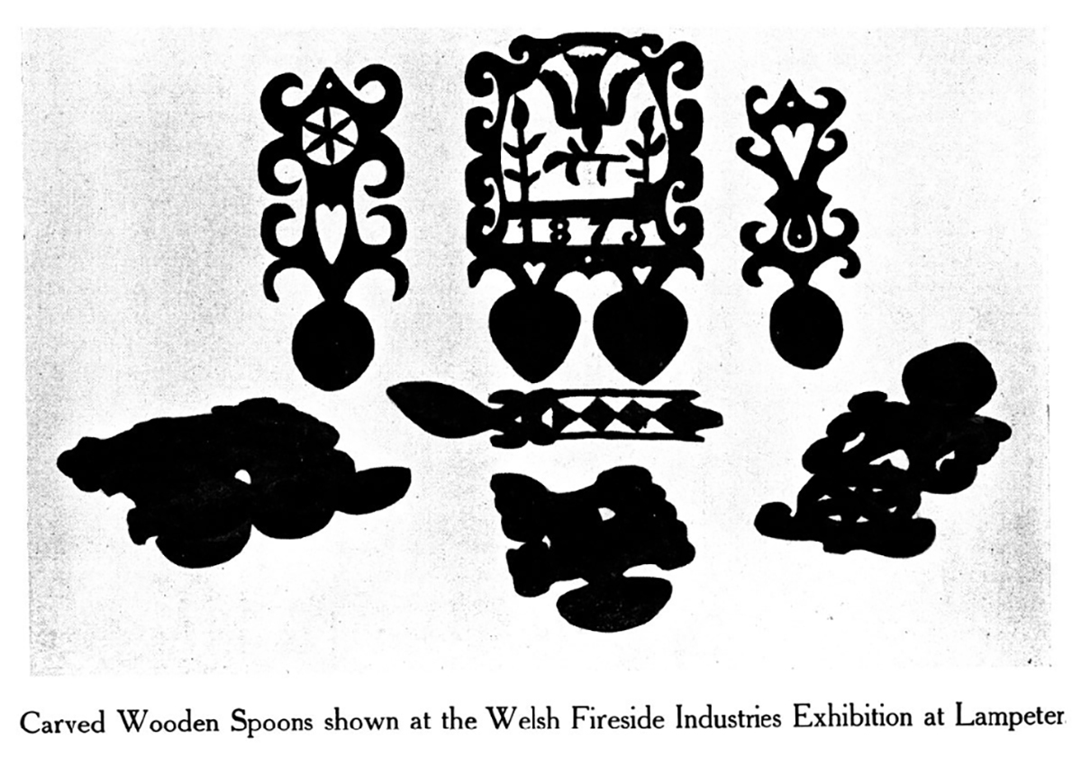 Carved wooded spoons shown at the Welsh Fireside Industries Exhibition at Lampeter