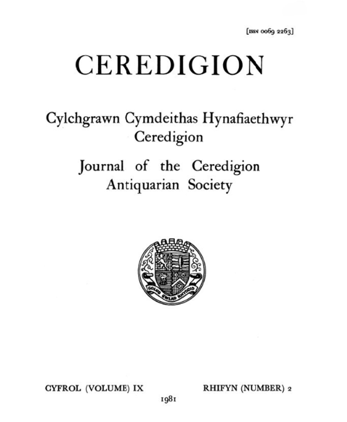 Ceredigion – Journal of the Cardiganshire Antiquarian Society, 1981 Vol IX No 2