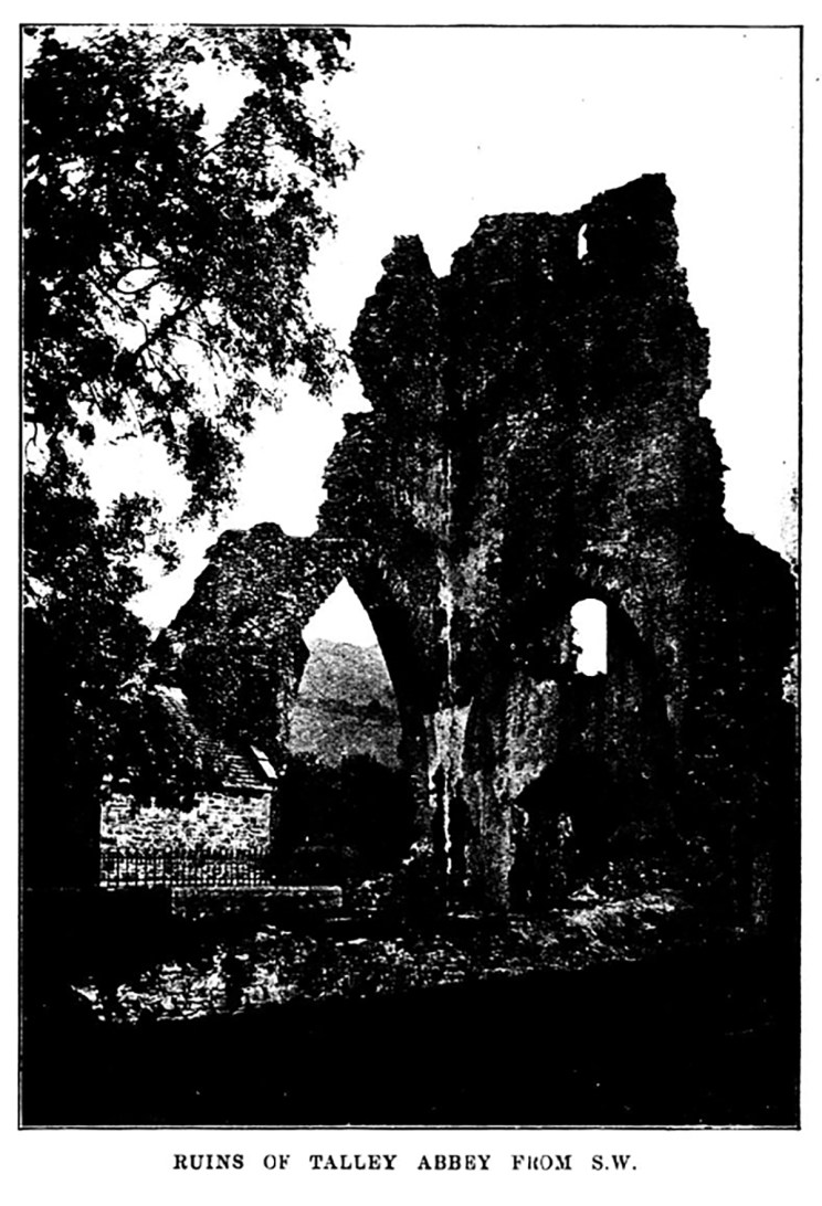 Ruins of Talley Abbey from South West
