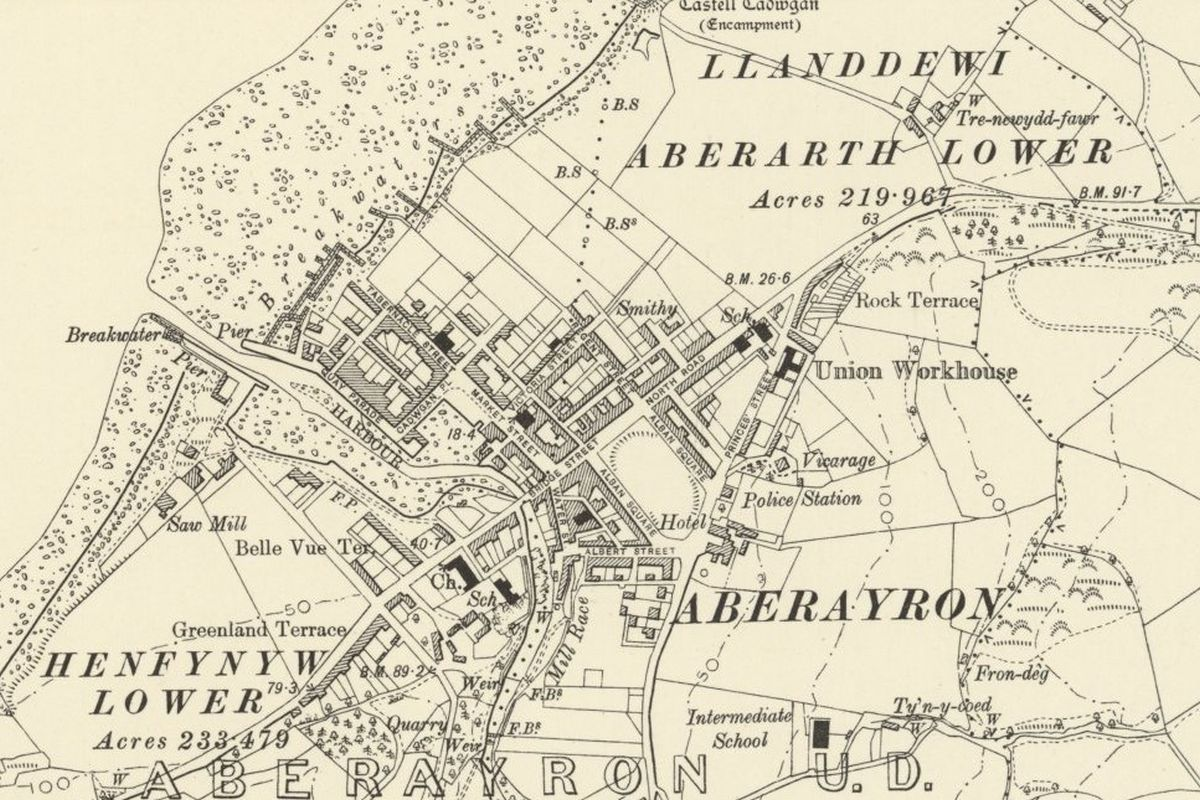Aberaeron Historic Mapping - OS Six Inch, 1888-1913, Reproduced with the permission of the National Library of Scotland