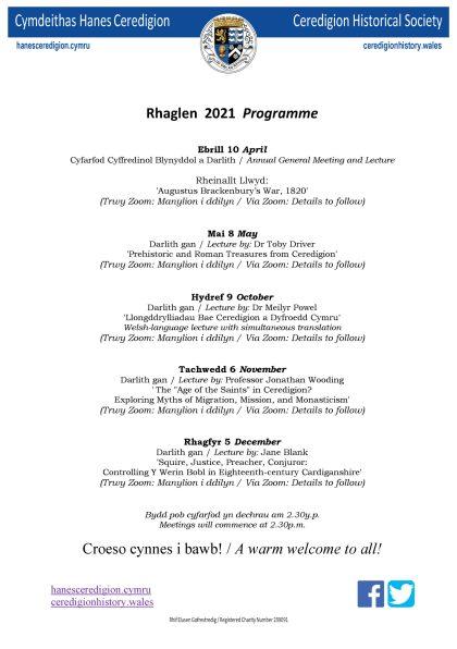 Ceredigion Historical Society - Events Programme 2021