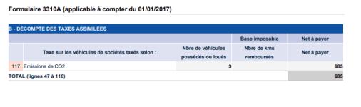 taxe sur le vehicule de societes sur 3310a