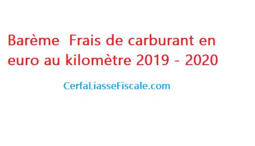 Barème Frais de carburant en euro au kilomètre 2019 - 2020