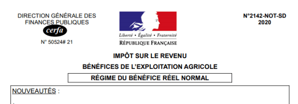 notice liasse fiscale 2142 benefice agricole