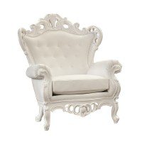 Victorian White Leather King Chair