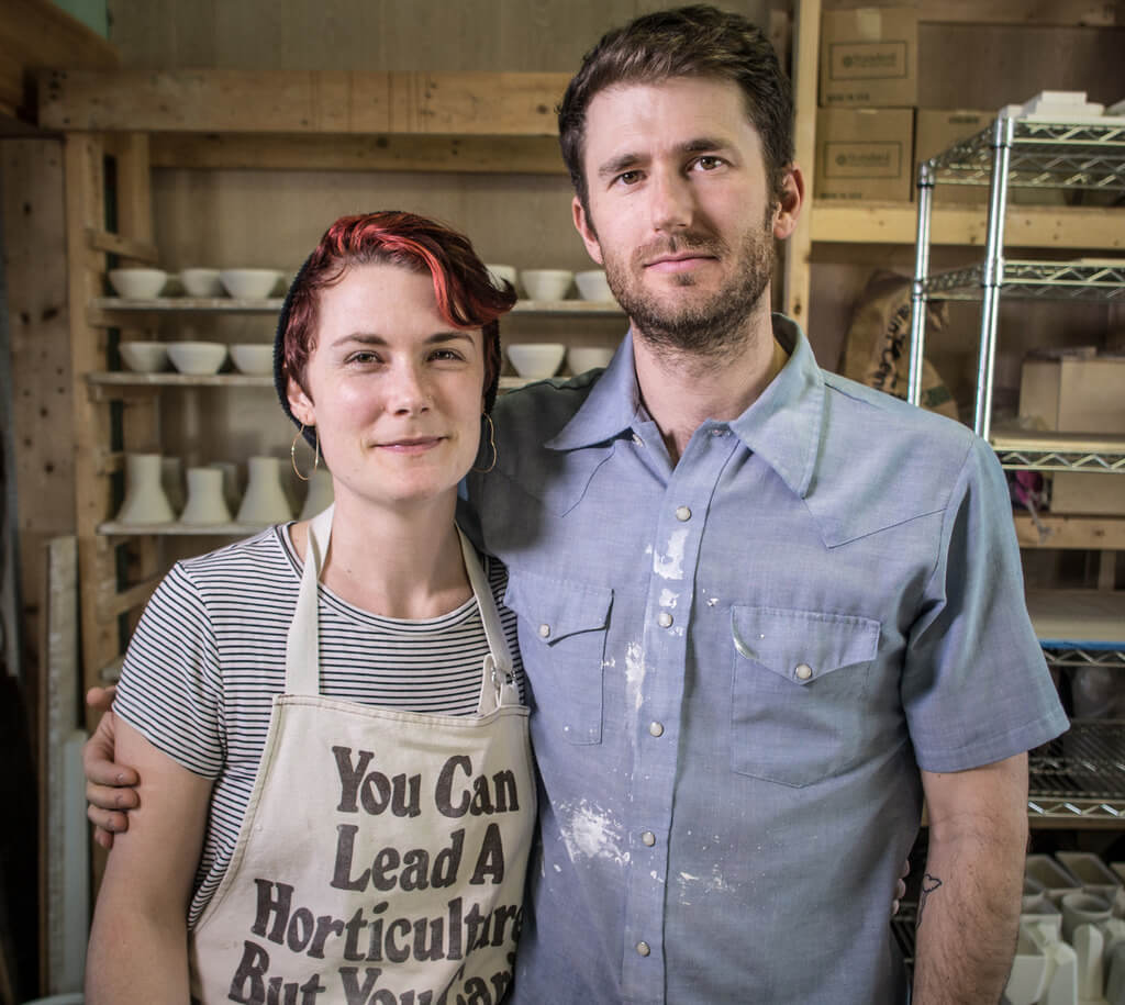 Ceramicist + CERF+ Beneficiary Anderson Bailey with this partner Jessie Bean Bailey of Bean and Bailey Ceramic.