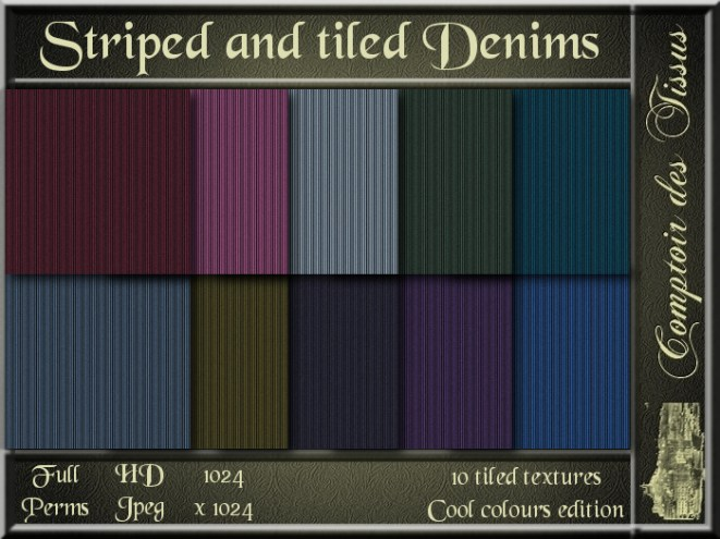 Striped and tiled Denims - Cool colours SL Add