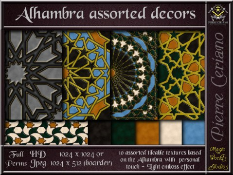 Alhambra assorted decors - 10 FULL PERMS Textures