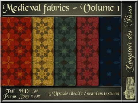 Medieval fabrics - Volume I - 5 FULL PERMS Textures