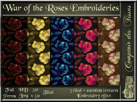 War of the Roses Embroideries - 5 FULL PERMS Textures