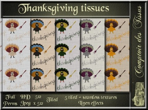 Thanksgiving tissues - 5 FULL PERMS Textures