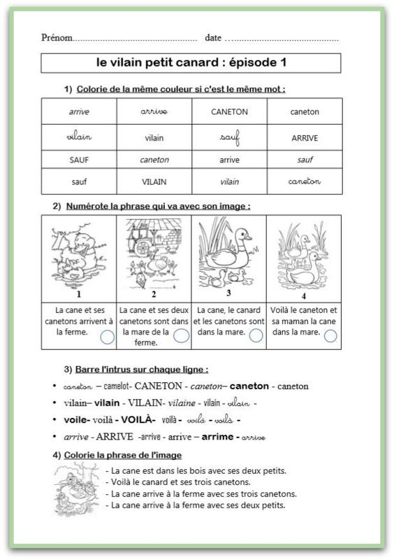 Le Vilain Petit Canard Texte : vilain, petit, canard, texte, VILAIN, PETIT, CANARD, MATÉRIEL, Cérianthe, Classe
