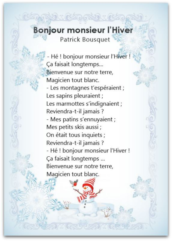 Bonjour Monsieur L Hiver Poésie : bonjour, monsieur, hiver, poésie, POÈMES, AUTOUR, L'HIVER, Cérianthe, Classe