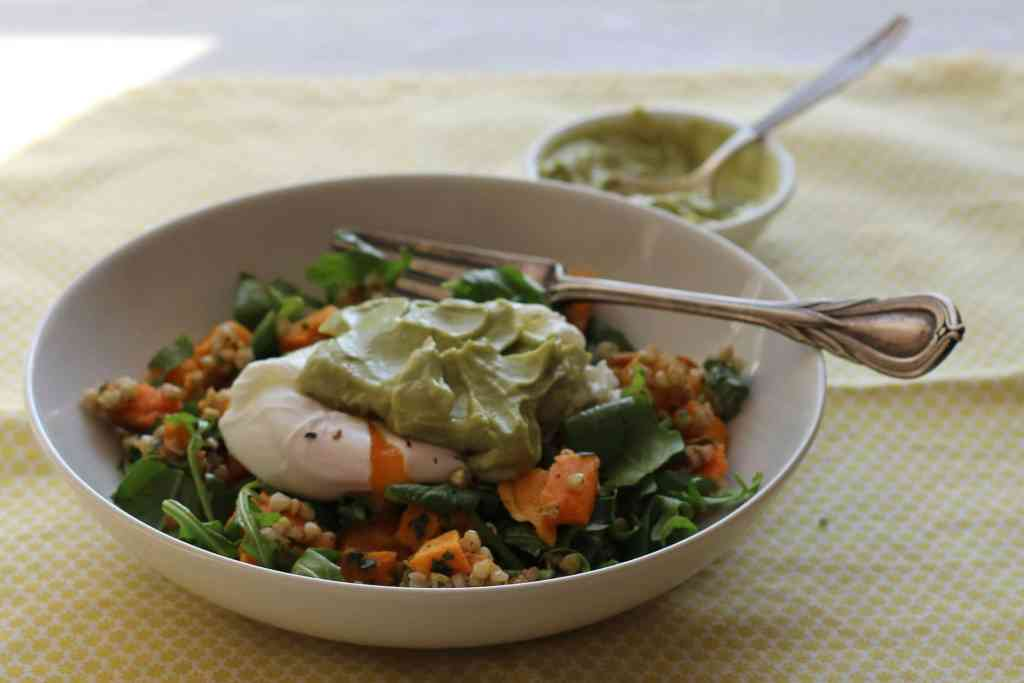 Brunch Bowl with Poached Egg and Avocado Cream