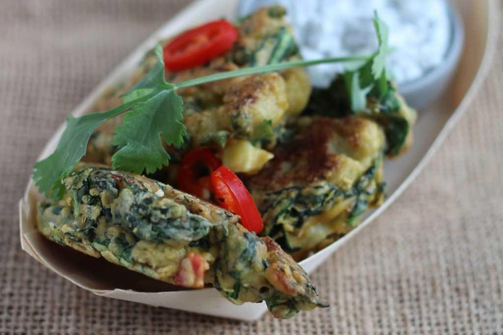 Cauliflower & Cavolo Nero Pakora with Coconut and Coriander Chutney, Gluten Free, Street Food, Vegan, Dairy Free | Natural Kitchen Adventures