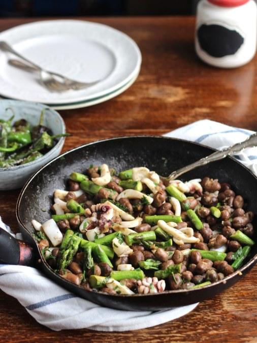 Sautéed Cuttlefish, Fava Beans & Asparagus