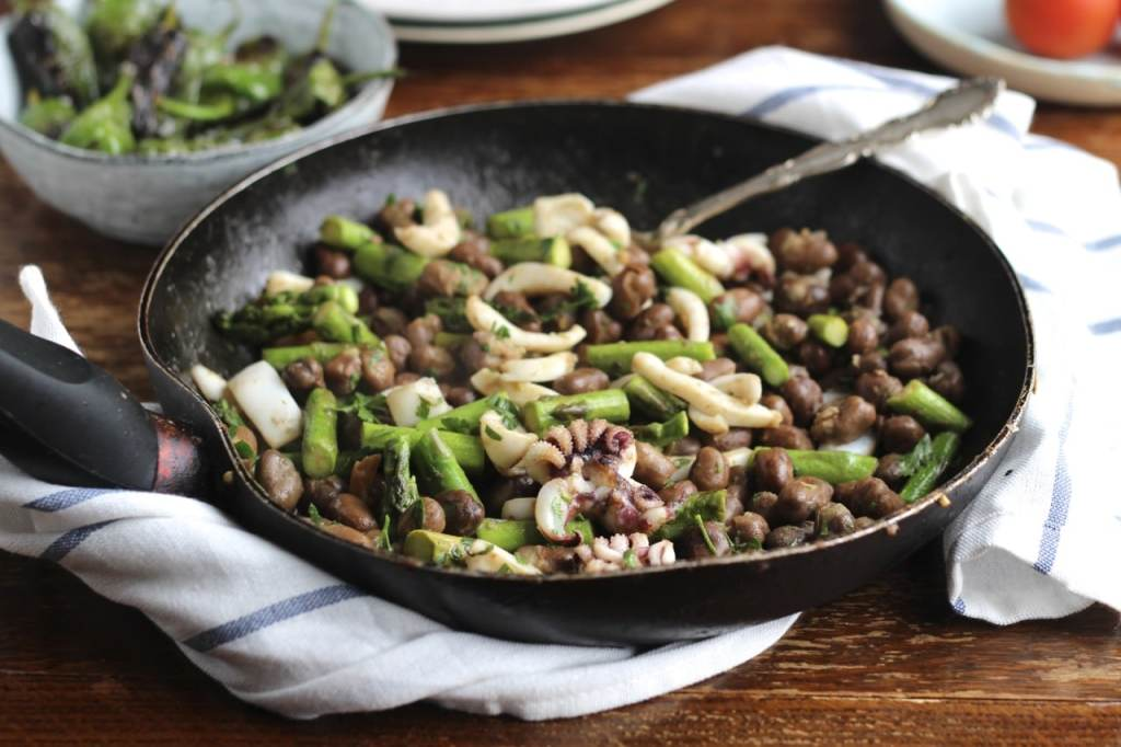 Cuttlefish, Fava Beans & Asparagus | Natural Kitchen Adventures, a British Tapas dish inspired by Barcelona, Gluten Free, Dairy Free,