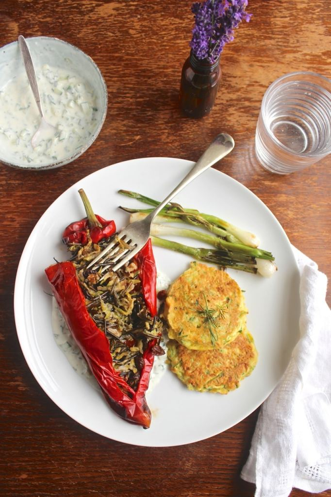 Stuffed Romano Pepper, Courgette Fritter. Vegetarian / Vegan Main / Gluten Free. Natural Kitchen Adventures
