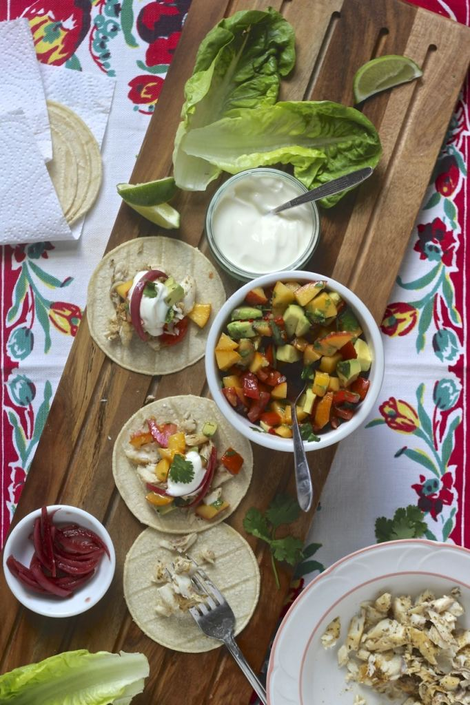 Fish Tacos with Peach Salsa | Natural Kitchen Adventures