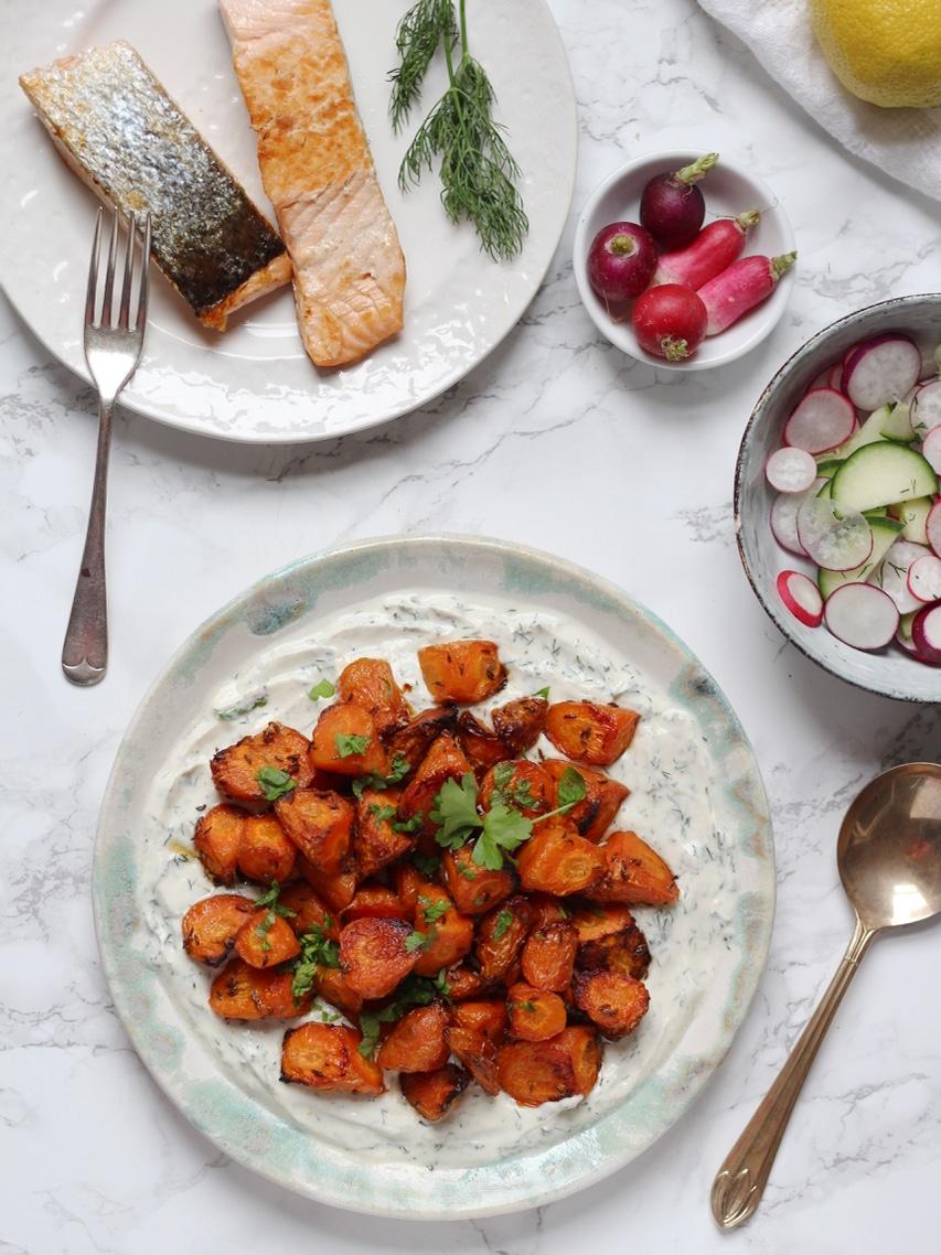 Sweet Roasted Carrots with Dill & Tahini Yoghurt