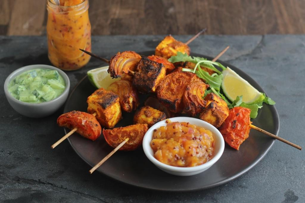 Paneer Tikka Kebab, Nectarine Chutney, Rocket Raita | Gluten Free, Vegetarian, BBQ | Natural Kitchen Adventures