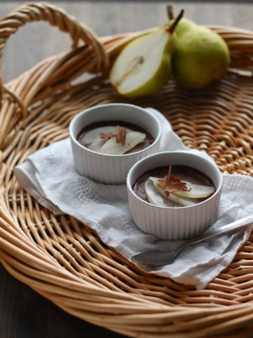 Dairy Free Chocolate Mousse with Poached Pear