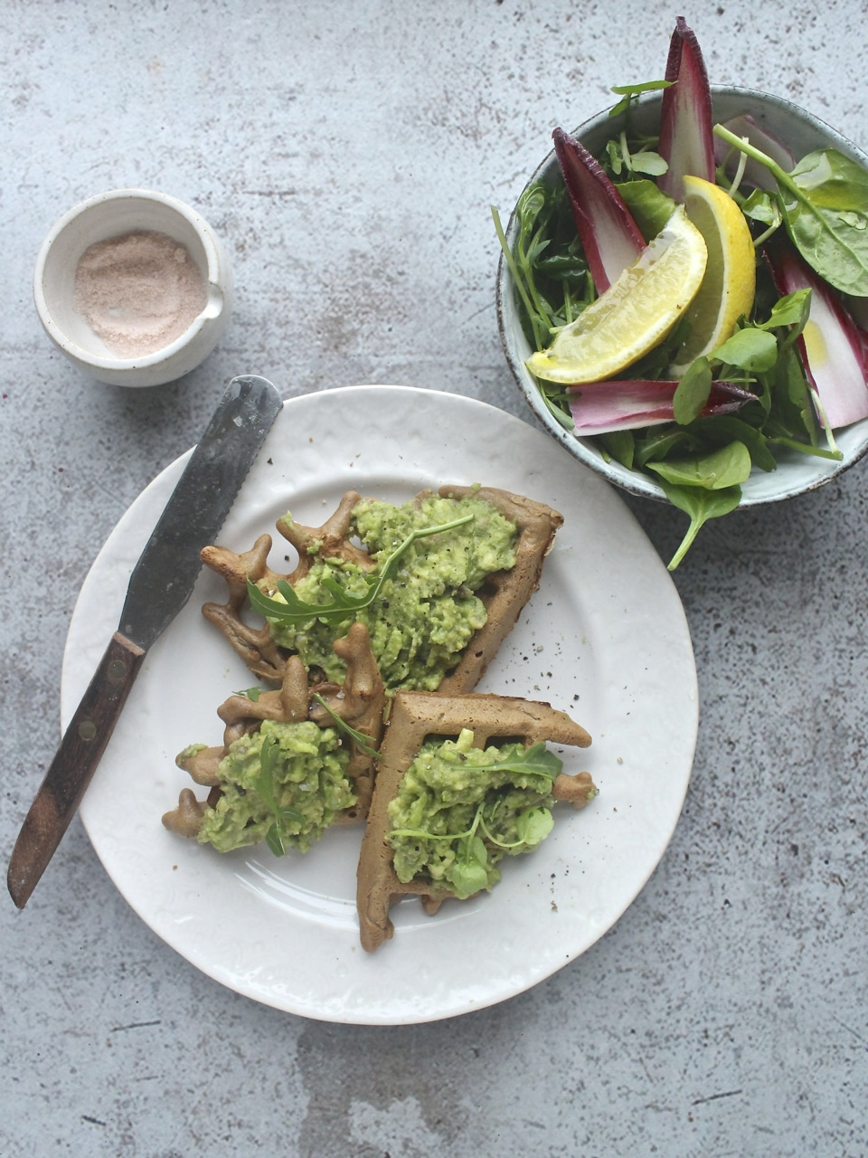 leek waffles with parmesan, gluten free, egg free, vegan and dairy free option
