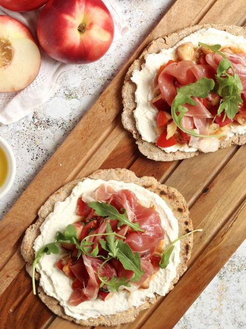 Nectarine Bruschetta Flatbreads with Parma Ham & Ricotta