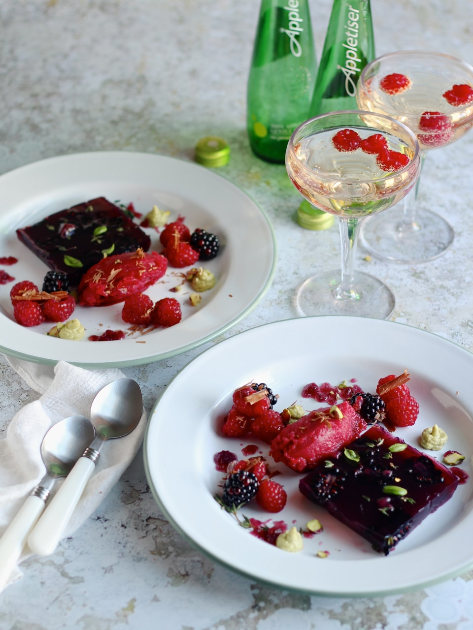Blackberry & Appletiser Jelly   Natural Kitchen Adventures   PLus granita, berries and pistachio cream, a vegan dessert