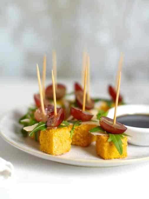 Parmesan Polenta Bites with Rocket & Grape