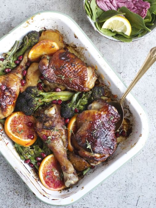Chicken, Purple Sprouting Broccoli & Pomegranate Molasses Traybake
