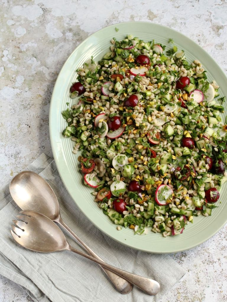 Cherry Pearl Barley Salad | Natural Kitchen Adventures